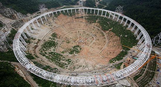 世界最大射电望远镜面板下线:称为中国天眼   据法国媒体信息内容,获悉,中国计划建造全球最大直径射电望远镜,以探寻外星生命为目的。射电天文望远镜选址在贵州的山区。然而建设超级天文望远镜需要搬迁当地约万名居民。   参考法国国际广播电台网站2月17日消息,法新社参考中国官方内容,中国计划创建一座大功率天文望远镜,对天体实行远距离观察,探寻宇宙天体中外星生命。   报道称,新型射电天文望远镜,有望在2016年建成。天文望远镜选择贵州山区,建成后将拥有500米宽的直径口径,将雄冠世界第一。   中国天文学