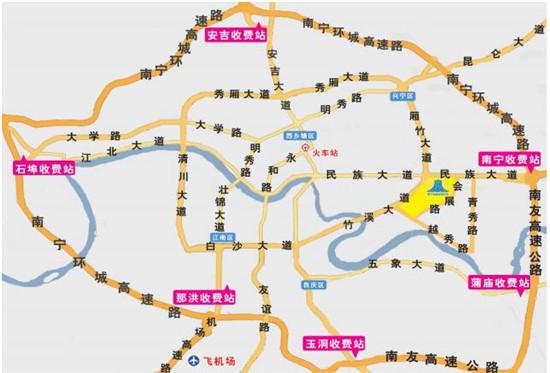 (南宁市区示意图,黄色区域为会展中心)